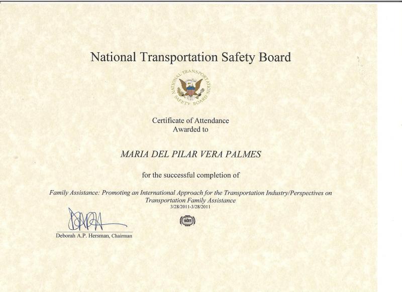 Certificado Asistencia Conferencia NTSB 2011